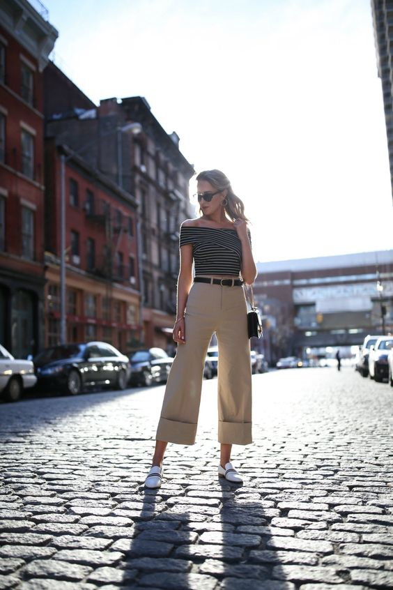 cropped khaki with wide legs