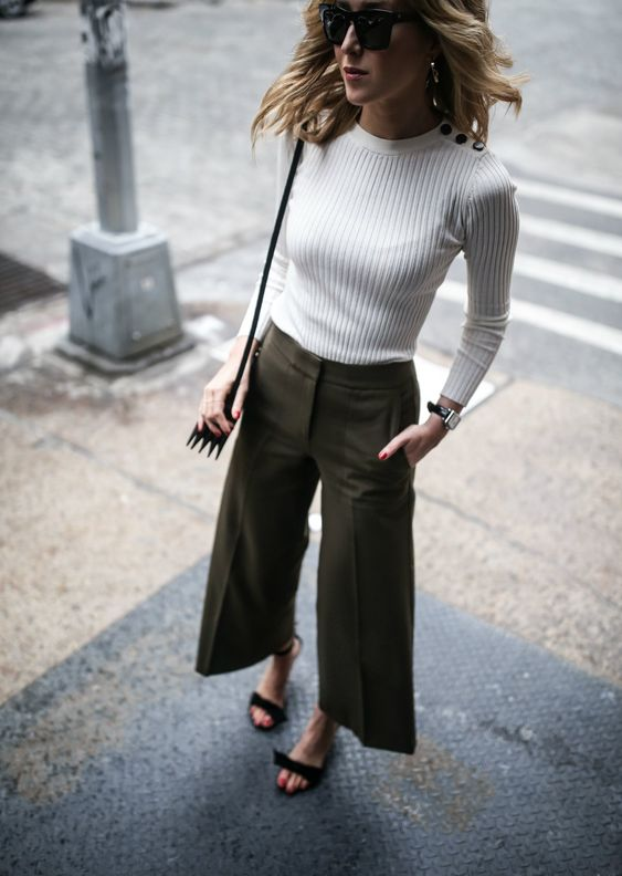 cropped wide leg trousers olive