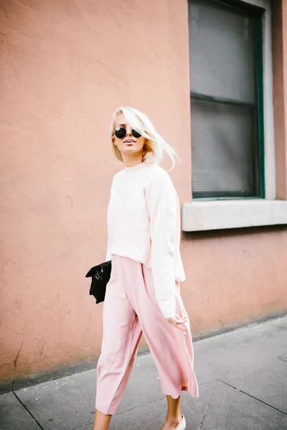 cropped wide leg trousers soft pink