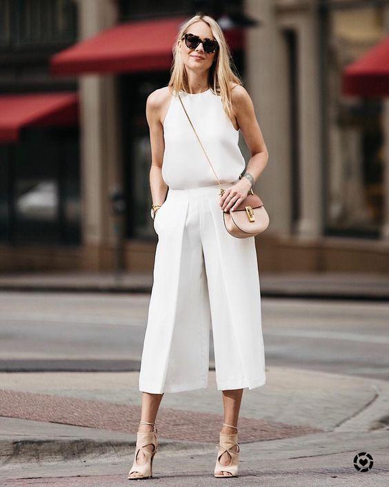 cropped wide leg pants eggshell white