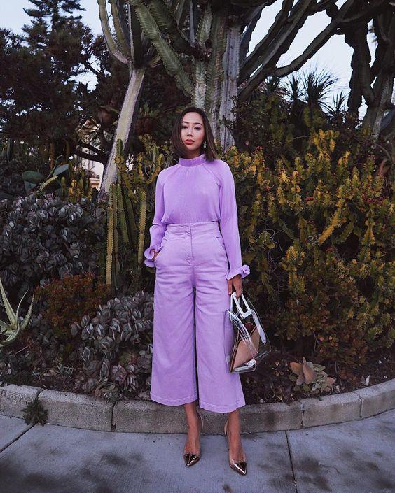 cropped wide leg trousers purple