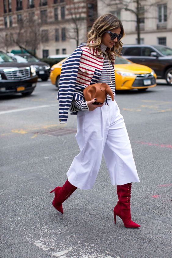 cropped red boots with wide leg trousers