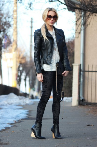 black leather blazer with white sweatshirts velvet leggings