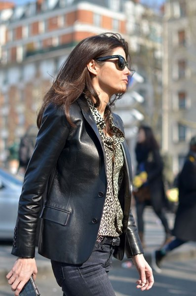 leather blazer with blouse on leopard print