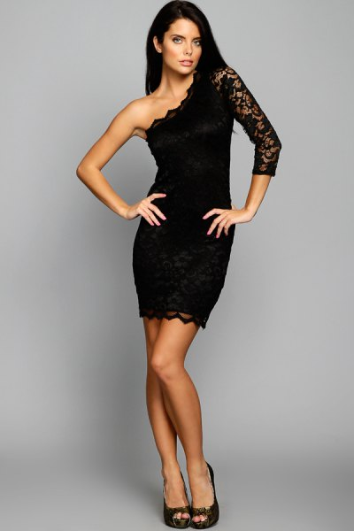 black one shoulder lace sleeve in shell lined bodycon dress