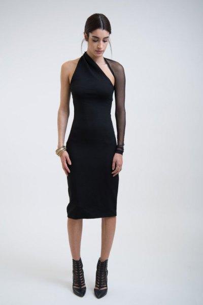 black mesh sleeve one shoulder mantle dress