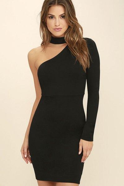 black choker neckline one shoulder mini bodycon dress