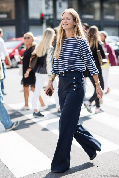 navy blue and white striped top with three quarters with blue sailor pants