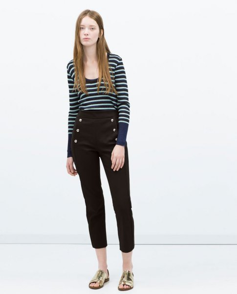 navy and white striped bucket neck sweater with black cropped pants
