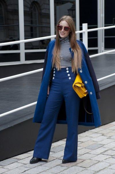 royal blue long wool coat with matching sailor pants