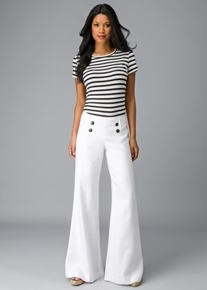 white flared sailor pants with striped t-shirt