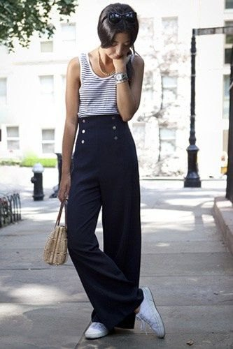 navy blue and white striped vest top
