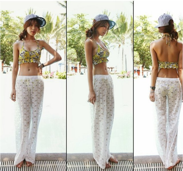 white half lace wide leg beach trousers over yellow bikini
