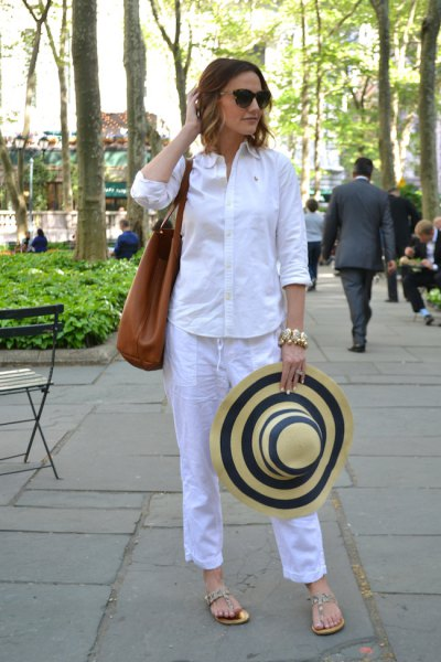 white button up shirt with sky blue cropped pants