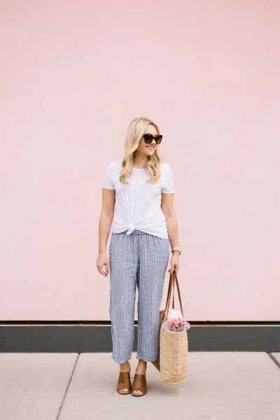 white knitted tee with navy striped beach trousers