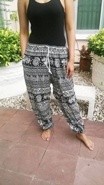 western top with black and white tribal printed beach trousers