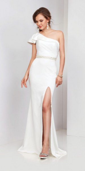 white one shoulder gathered waist high split maxi dress