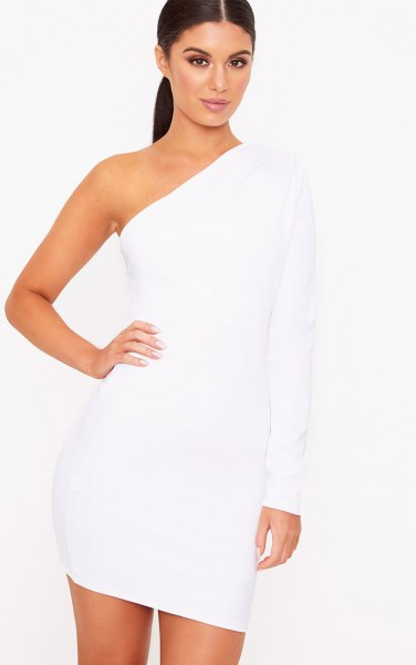 plain one shoulder single long sleeve bodycon mini dress
