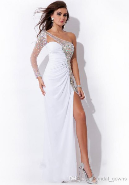white and silver sequin one shoulder high split maxi dress