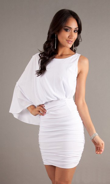 white one-piece ruched bodycon mini dress