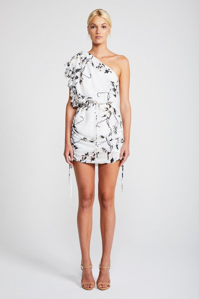 white floral printed one shoulder mini dress