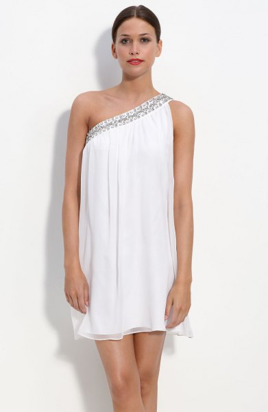 white one shoulder mini chiffon change dress