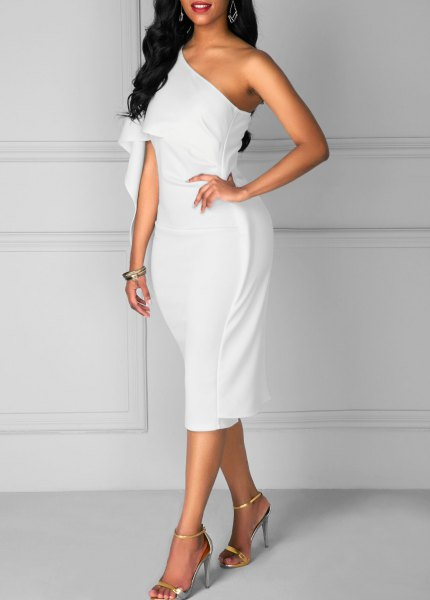 white one shoulder midi dress with open toe heels
