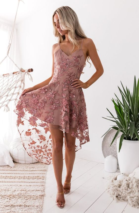 dress with soft pink embroidery with low lace