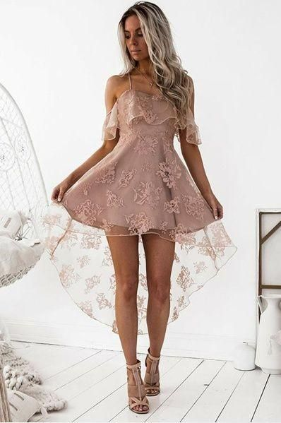 high low lace dress soft pink