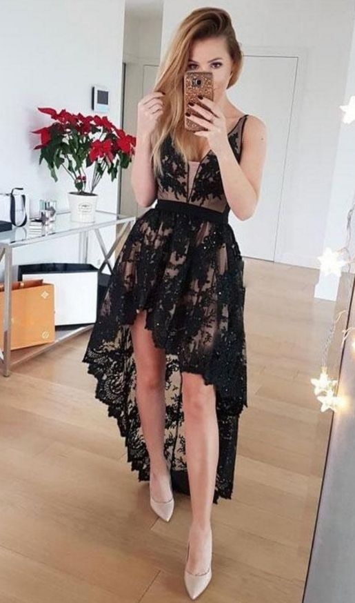 high low lace dress black nude