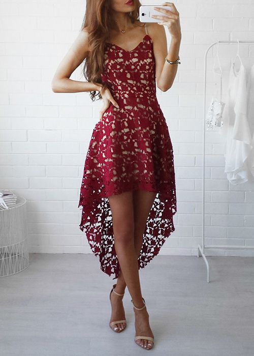 dress with high lace red