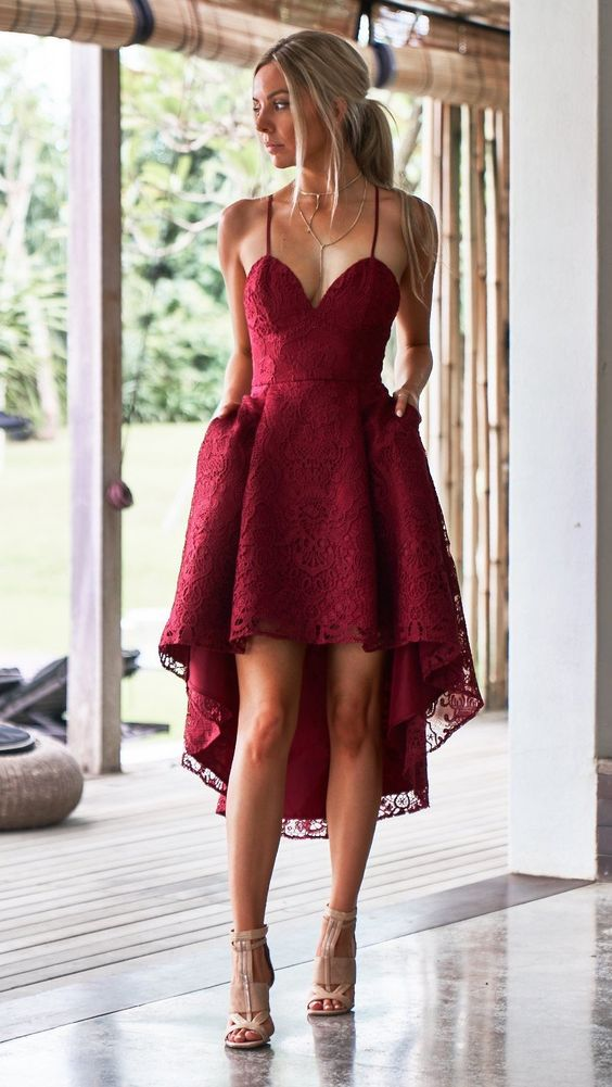 red wine with high lace dress
