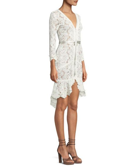 high low lace dress white casual