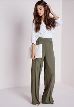 white wrap blouse with gray high waist trousers