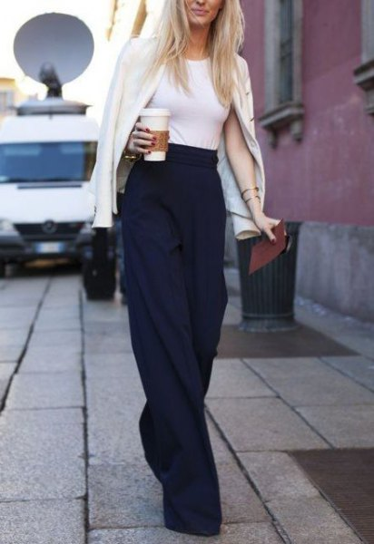 black trousers with white t-shirt and blazer