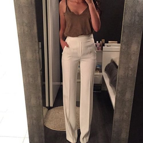 gray camisole with white high waisted pants