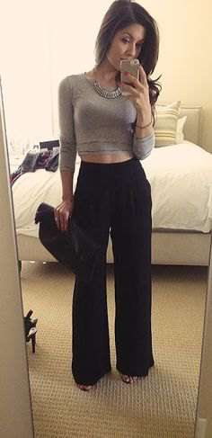 gray cropped long sleeve shaping tee with black high waist trousers