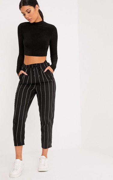 black cropped sweater with mock neck with striped cropped wide leg pants