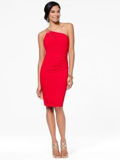 red bodycon midi dress with simple silver strap