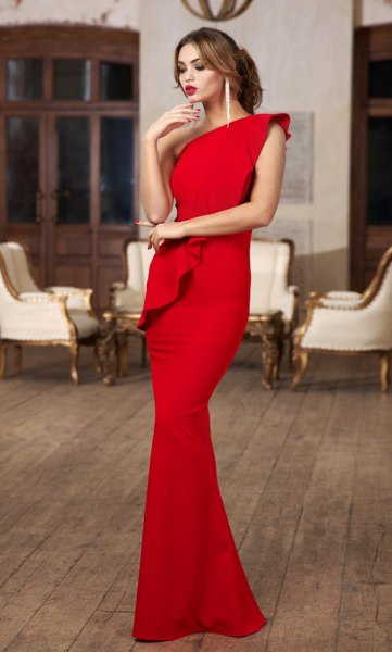 red ruffle maxi mermaid a shoulder dress