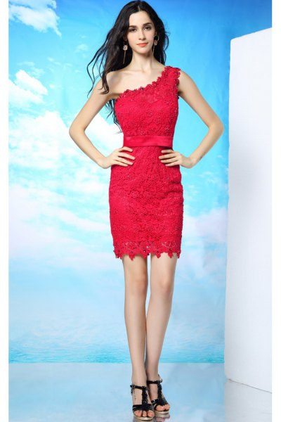 red lace dress with a shoulder with black heels