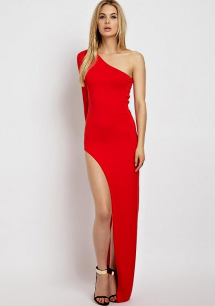 red one shoulder high split dress