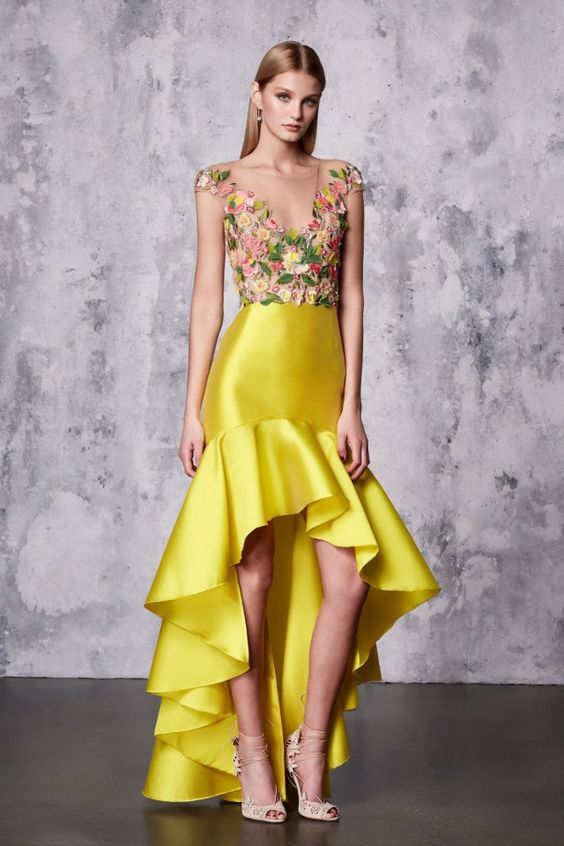 high low ball gown yellow floral