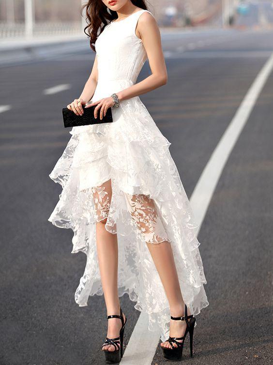 high lace dress white lace