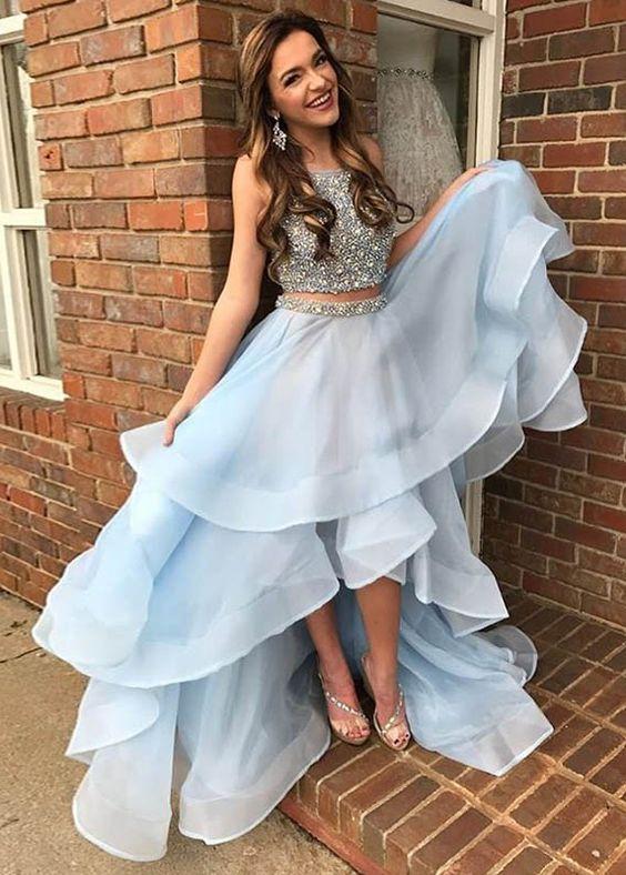 high low walk dress baby blue