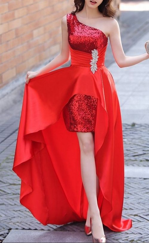 high low prom dress red sequin