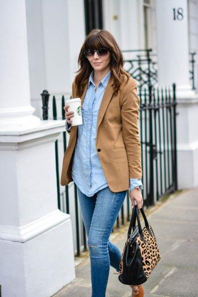 chambray boyfriend shirt and leopard print handbag