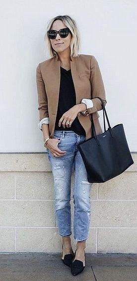 camel blazer with black v-neck t-shirt