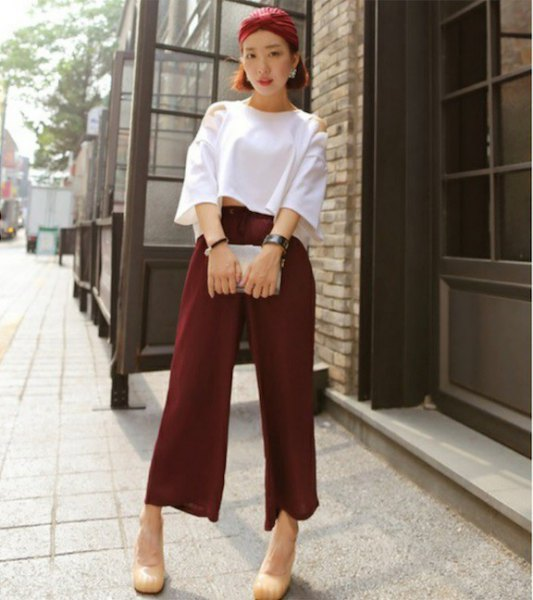 white wide sleeve crop with cotton trousers