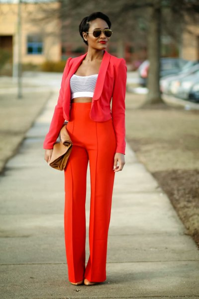 red suit with white crop top